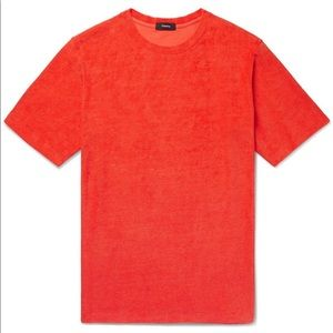 THEORY Mens Orange Terry Shirt Medium